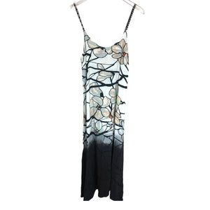 Language Fancy Maxi Silk Blend Black Dip Dress